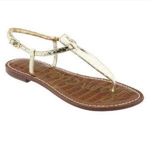 {Sam Edelman} Faux Croc Gold Thong Sandal 8